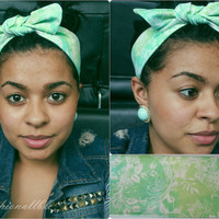 Mint Floral Print Headband  (Vintage Inspired, Pin up Inspired )