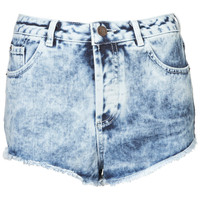 MOTO Acid Wash Denim Hotpants - Denim Shorts - Shorts - Clothing - Topshop
