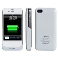 Amazon.com: Baixt iphone 4 / 4s External Rechargeable Spare Backup Extended 2200 mAh Battery Charger Pack Case Cover for Apple iphone 4s White: Cell Phones & Accessories