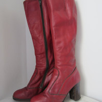 60s Red High Heel Leather Boots by Markwart / US 7.5 EUR 38 UK 5 // Vintage Boho Brownish Red Knee High Campus Boots