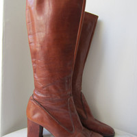 70s/80s High Heel Cognac Italian Leather Boots / US 9 EUR 40 UK 6.5 // Vintage Brown Knee High Campus Boots