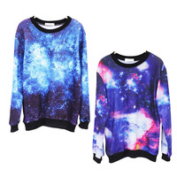 SakuraShop — Fantasy Starry Sky Long-sleeved T-shirt