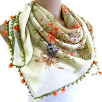 authentic, square , scarf, Green, wedding, bride, 2013 Spring Fashion, Traditional Turkish-style