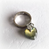 Labradorite heart charm ring