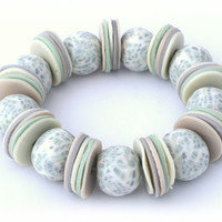 Green White Seashell Bracelet - Mint Green Ivory White Natural Cream Beige - Seashell Fossil Print Beach - Polymer Clay