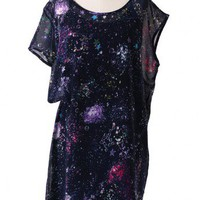 Asymmetric Galaxy Chiffon Slip Dress