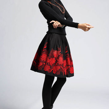 Black skater skirt with Maple Leaf  (402)
