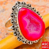 PINK GEODE SLICE 925 STERLING SILVER RING SIZE 8 3/4 JEWELRY