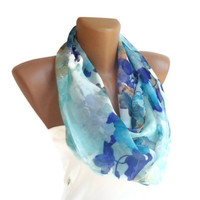 infinity loop women scarf , floral print purple mint green blue aqua colors, girly fashion neck accessories