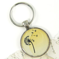 Yellow Keychain - Dandelion Key Ring Plant Flower Seed Head Botanical Silver Nature