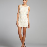 Dress the Populationivory chiffon and lace fringe
