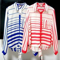 Stripes Loose Asymmetric Chiffon Shirt with Front Pocket
