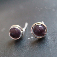 Amethyst Stud earrings, february birthday, wire wrapped post earring gemstone earrings