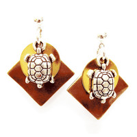 Cute Turtle Earrings - Silver Turtle Charms - Copper/Gold/Silver mixed metal color combination - on Ear Posts or Ear Wires