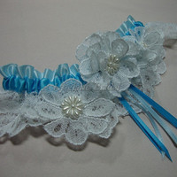 Garter lace flowers garter Wedding/Prom garter by Hoalanebridal