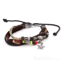 Adjustable Ethnic Star Leather String Bracelet at online cheap fashion jewelry store Gofavor