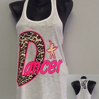 Racer tank w/ laced back DANCER by CustomTsCorp on Etsy