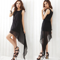 Casual Womens Chiffon Asymmetric Hem Graceful Dress Sleeveless Mini Dress