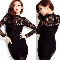 Sexy Womens Mini Dresses See-through Lace Stand Collar Vintage Long Sleeve