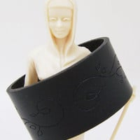 Black Cuff Bracelet - Leather Wristband with Floral Tooling Grunge Fashion - Ladies Size Medium