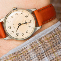 Antique men's wrist watch Pobeda retro watch Soviet orange rust tone watch accessory