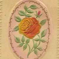 Orange Rose on vintage bas relief Birthday Postcard flocked Rose Gottschalk Dreyfuss & Davis Seattle RPO cancel 1913
