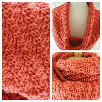 Burnt Orange Hand knit Infinity Scarf