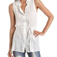 Belted Button-Down Tunic: Charlotte Russe