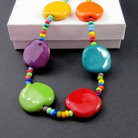 Bright bold multicolored necklace Kazuri Africa clay seed bead