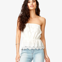 Scalloped Eyelet Tube Top | FOREVER21 - 2037705615