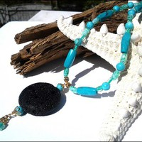 Turquoise Gemstone with Black Lava Rock and Glass Cube Beaded Necklace