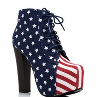 American flag lace-up bootie