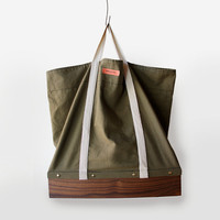 Buster Bag canvas upper solid wood bottom unique