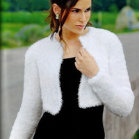 Ready to be shipped - Handmade White Kate Middleton Shrug / Bolero hand knit/ Medical Scrubs/ Size Small