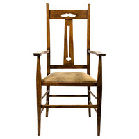 One Kings Lane - A Vintage Marine Mood - Arts & Crafts Movement Oak Armchair