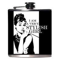 Gift for Her, Audrey Hepburn Flask, Breakfast at Tiffany's, I Am A Very Stylish Girl, Swanky High Fashion Whiskey Hip Flask