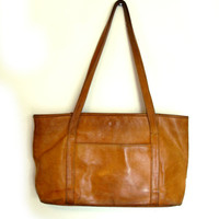 Vintage 70s Camel Color  Distressed LEATHER Double Strap Purse/ Tote Bag