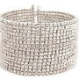 15 Line Silver Metal Seed Bead Cuff Bracelet