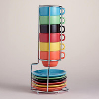 Multicolor Stacking Mugs or Espresso Cups Sets of 6 | World Market
