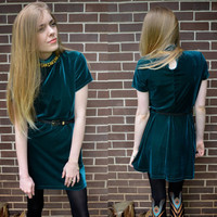Vintage Teal Velvet Mini Dress