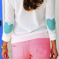 RESTOCK Bottom Of My Heart Sweater: Teal | Hope&#x27;s