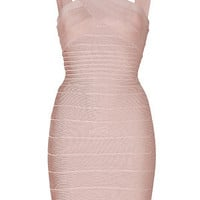 Hervé Léger - V-Neck Bandage Dress in Bare