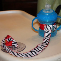 Zebra &amp; Red Sippy Strap with suction cup by ChunksBabyJunk