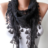 New Trend - Mother's Day Gift - Cotton Scarf with Black Trim Edge - Lightweight