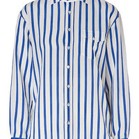 Ralph Lauren Black - Striped Silk Brennan Shirt in Off White/French Blue