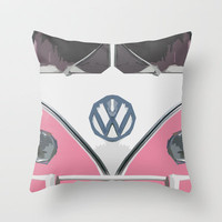 Pink Love Bus Redux Throw Pillow by Bruce Stanfield