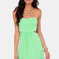 Notch to Mention Strapless Cutout Mint Green Dress