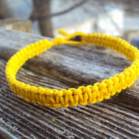 Yellow Hemp Bracelet Macrame Square Knot Made To Order