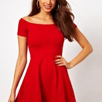 Motel Catalina Off Shoulder Skater Dress