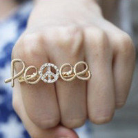 Peace Double Ring Adjustable